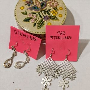Jewelry - Earrings And Small Tin